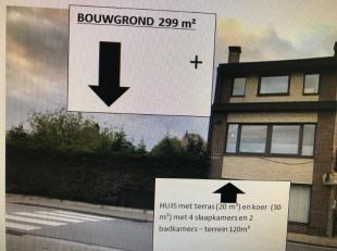 Centraal  gelegen in Gijzegem, bouwgrond, opp 299 m²  met 14 M straatbreedte inclusief rechts aanpalende investeringseigendom  bj 1980 : inkomhal