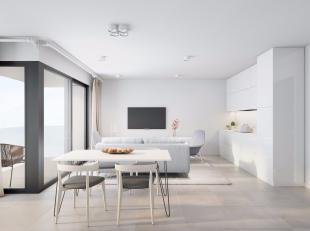 Deze leuke  nieuwbouw duplex bestaat op de vijfde verdieping uit een inkomhal voorzien van vestiaire, een toilet, een keuken met aansluitend een bergi