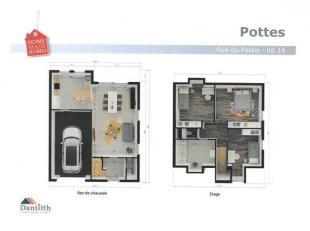 Attrayantes maisons nouvelles constructions à basse consommation d'énergie comprenant living avec cuisine ouverte, débarras, 3 ch
