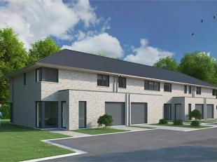 Ruime halfopen bebouwing op 365 m² met N-oriëntatie. GLV: inkom, toilet, living, keuken, berging in de inpandige garage. 1eV: 4 slk, badkame