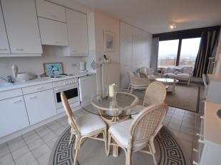 Aangename studio met 2 grote terrassen op de 7de verdieping gelegen op de zeedijk. Living met ingemaakte 2 pers. bed in kast. Open ingerichte keuken.