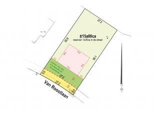 Zeer ruim perceel bouwgrond van ca 25m breed en gelegen in woonparkgebied bestemd voor het bouwen van een open bebouwing met een perceeloppervlakte va
