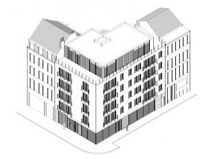 euro 1.150.000,- Vergunde projectgrond voor appartementsgebouw bestaande uit: Commercieel gelijkvloers 150m² Gezamenlijke inkom met fietsenkelder