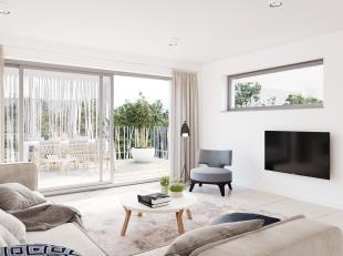 Appartement A1 is perfect georiënteerd, heeft 1 slaapkamer met mooi en zeer ruim zonneterras van 25 m². Inkomhal met vestiaire, mooie leefru
