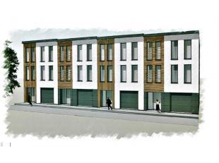 Terrain avec permis de bâtir délivré pour projet de construction de 4 immeubles de 2 appartements (8 unités). Composition p