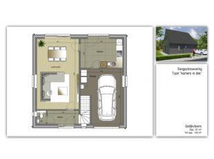 Hooglede - De Geite : Mooie bouwgrond voor villabouw met een oppervlakte van 667m2 , bebouwbare opp. max 187 m2.Voorbeeld mogelijke villabouw, prijs g