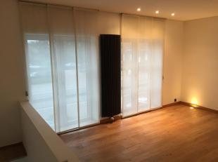 Modern duplexappartement in het gezellige centrum van Bolderberg. Inkomhal met trap naar 1ste verdieping. Living met parket, wc, keuken met granieten