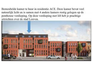 Splinternieuwe gemeubelde kamer/studentenverblijf in een residentie te huur, City center Leuven, Top location.<br /> €500 <br /> For info: stecimo@tel
