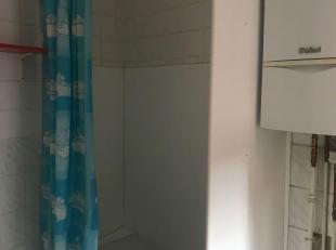 Goed gelegen ongemeubeld appartement, 1ste verdieping. 1 slaapkamer, dubbele beglazing, dak conform. Open keuken met kookvuur en koelkast. Badkamer me