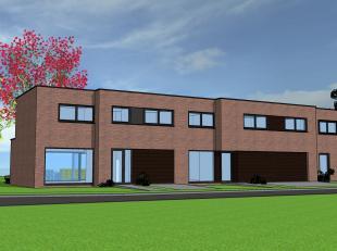 Op deze kleine verkaveling worden 3 moderne, aanpalende huizen gebouwd. Door de architectuur en het vormenspel wordt zo een driewoonst gecreëerd