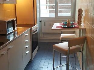 Proper appartement met inkomhal, volledig ingerichte keuken, ruime living, nachthal met dressing en vestiaire, 2 slaapkamers, apart toilet en 1 badkam